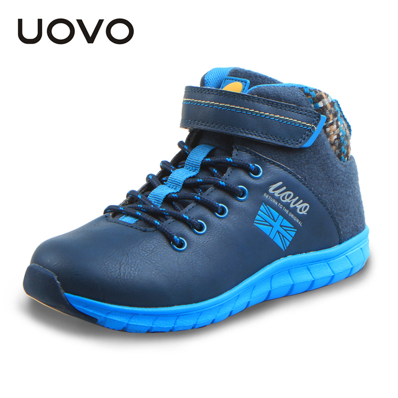 New Uovo Brand Boys Fashion Shoes Children High Top Sport Shoes Spring Winter Kids Casual Sneakers EU30-38 Soft Chaussure File 2017 new autumn winter children pu leather sport running shoes for little boys big boys male fashion sneakers boys casual shoes