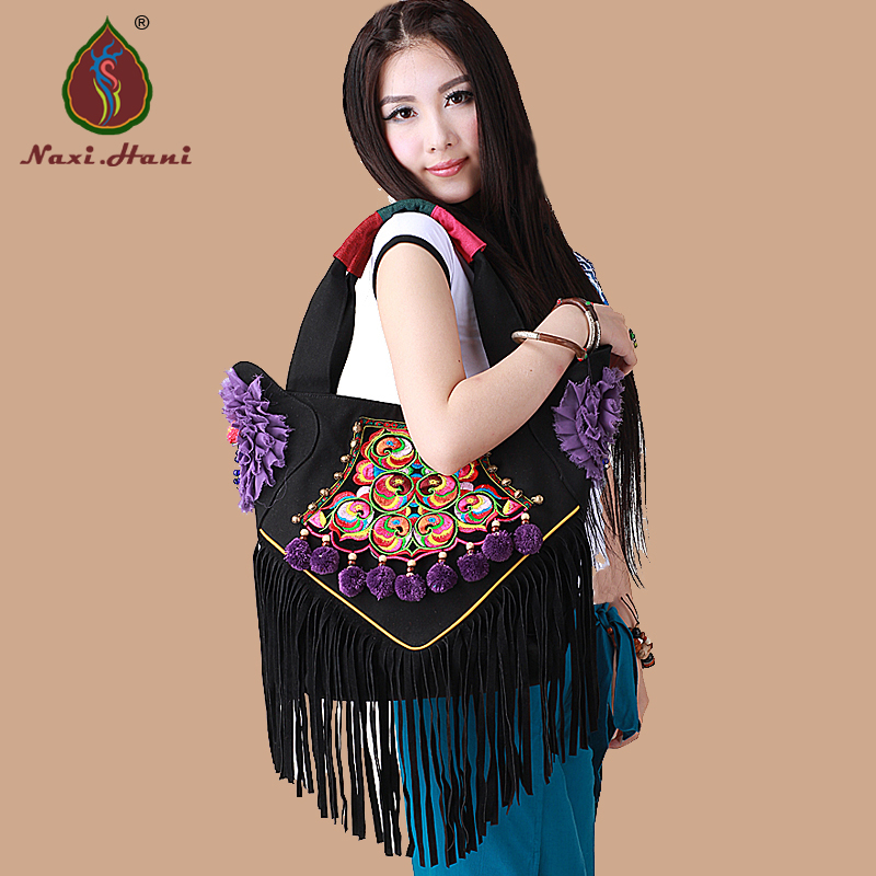 Online sales Naxi.Hani brand pure handmade tassel lace canvas Shoulder bags Ethnic embroidered Pompon women handbags original ethnic embroidered women handbag vintage handmade tassel shoulder bags black canvas casual large bags