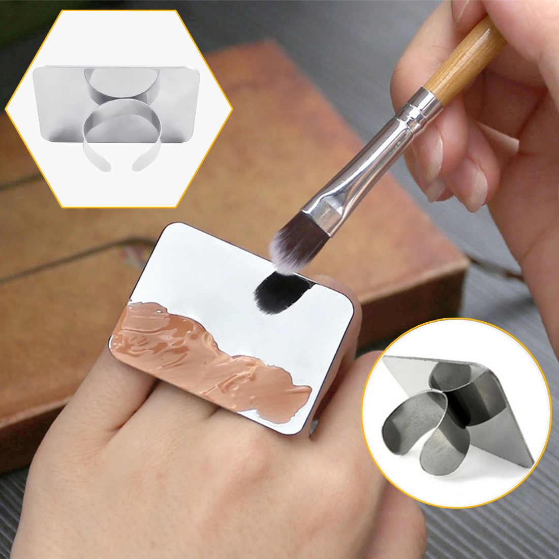 Salon Manicure Finger Ring Color Palette Make up Cream Foundation Mixing Palette Cosmetic Make up Tool Stainless Steel Plate