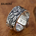 BALMORA Vintage Jewelry 100% Real 999 Pure Silver Retro Lotus Flower & Sutra Opening Rings for Women High Quality Gift SY20818