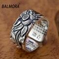 Balmora jóias 100% real do vintage 999 prata pura retro lótus flor & Sutra Abertura Anéis para As Mulheres Presente de Alta Qualidade SY20818