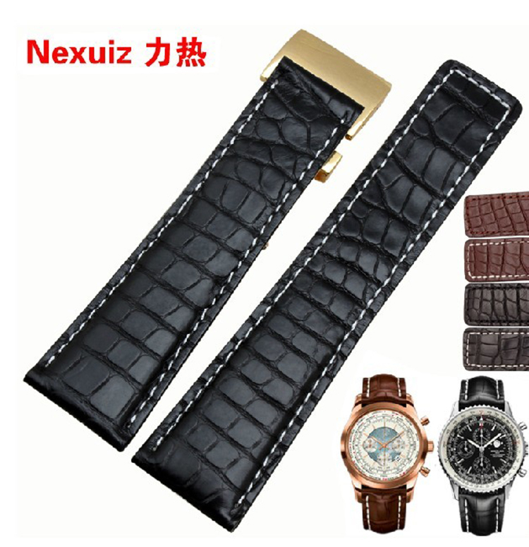 High quality Genuine leather 22mm 24mm Crocodile Alligator leather watchband male straps free shipping все цены