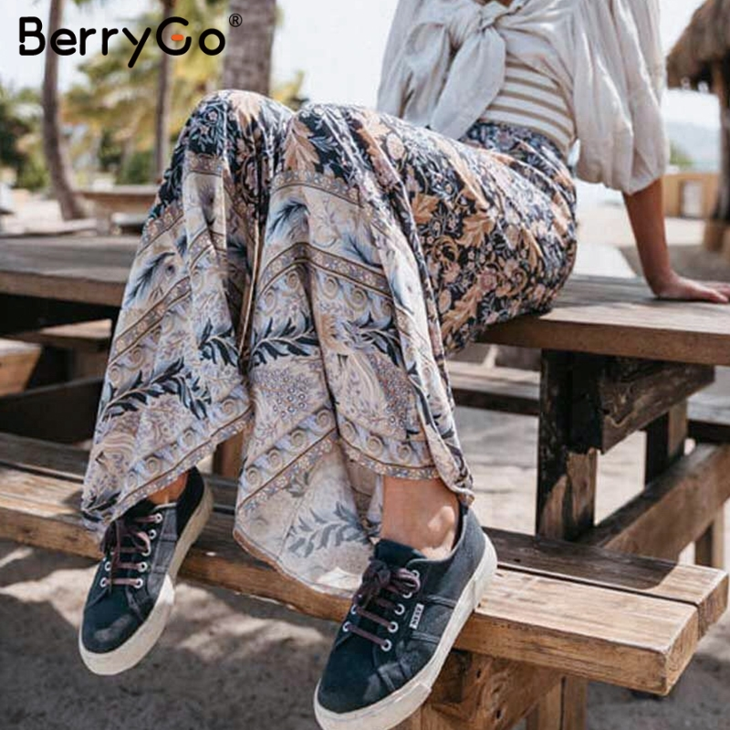 BerryGo Bohemian women   wide     leg     pants   floral print trousers Female high waist casual pantalons Vintage femme streetwear palazzo