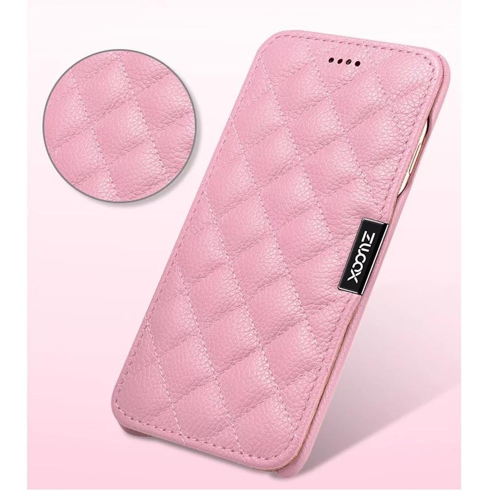 bilder für XOOMZ TOP Echtes Leder-kasten für iPhone 7 7 Plus iPhone 6 6 s Plus Grid Prüfen Magnetic Folio-kasten für iPhone 7 Plus Frauen Mädchen