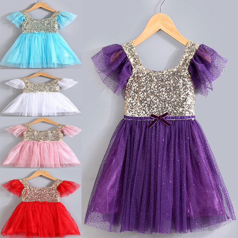 15 Fashion Baby Girls Summer Sequined Princess Party Dresses Kids Beautiful Clothes Children Clothing Casual Lace Dress 5 Colors new fashion baby girls dress with cap kids clothes lemon print princess dress girl party dresses for children summer dress
