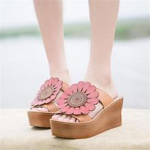 2016 new summer genuine leather women sandals flower thick bottom wedges high heels women shoes casual sweet women slippers