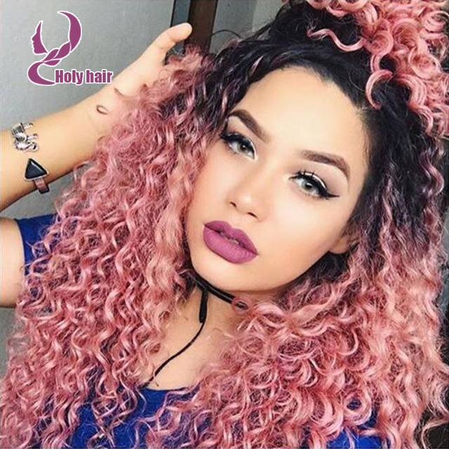pink color ombre short curly human