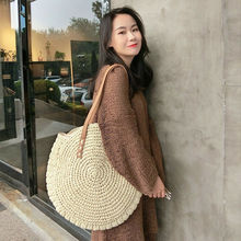 Casual Beach Straw Woven Bags Rattan Basket Shoulder Bag Round Outdoor Travel