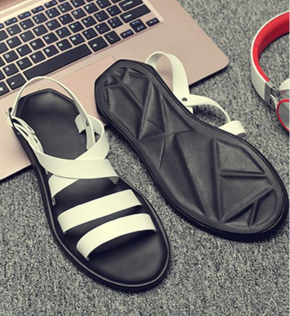 new 2018 male gladiator sandals shoes rome fashion cut out summer beach sandals shoes black white