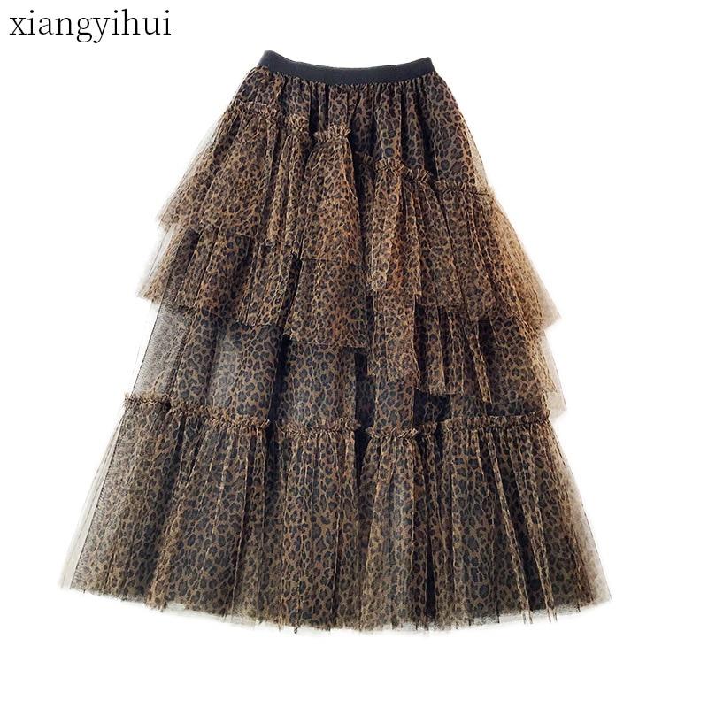 Fashion Vintage Ball Gown Women Black Polka Dot Mesh Long Skirt Tulle Female Casual Leopard High Waist Ruffles Skirts 2019 New