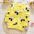 Novo Estilo de Roupas de Primavera das crianças Impressão Minnie Bebés Meninas Meninos Manga Comprida camiseta Tops Crianças roupas