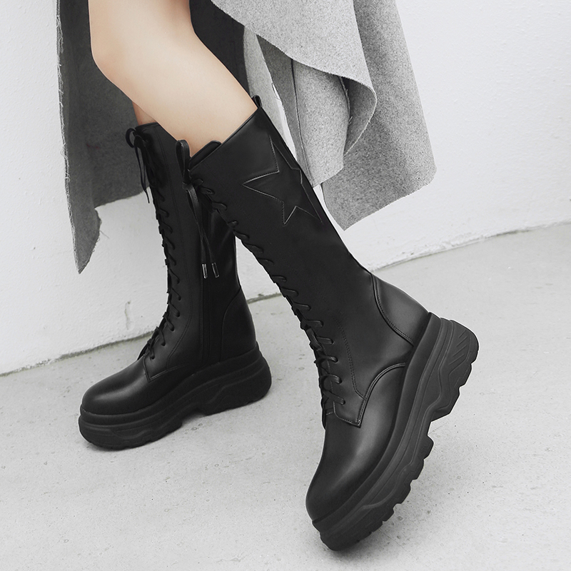 Flat with Knee High Boots Women Platform High Heel Fashion Ladies Boots Lace Up Autumn Winter Pu Woman Shoes Plus Size 2018 New