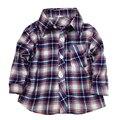 2 4 5 anos meninos de Manga Longa Azul Camisa de Tecido Xadrez Botão Para Baixo Camisa Colarinho da Camisa criança menino da criança dos meninos da criança Camisa de botão Frontal