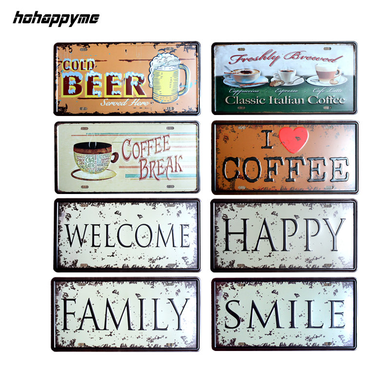 Metal Tin Signs Letters BEER COFFEE Signs Metal Plaque Painting Home Decor Plates Wall Art Craft Bar 30X15 cm
