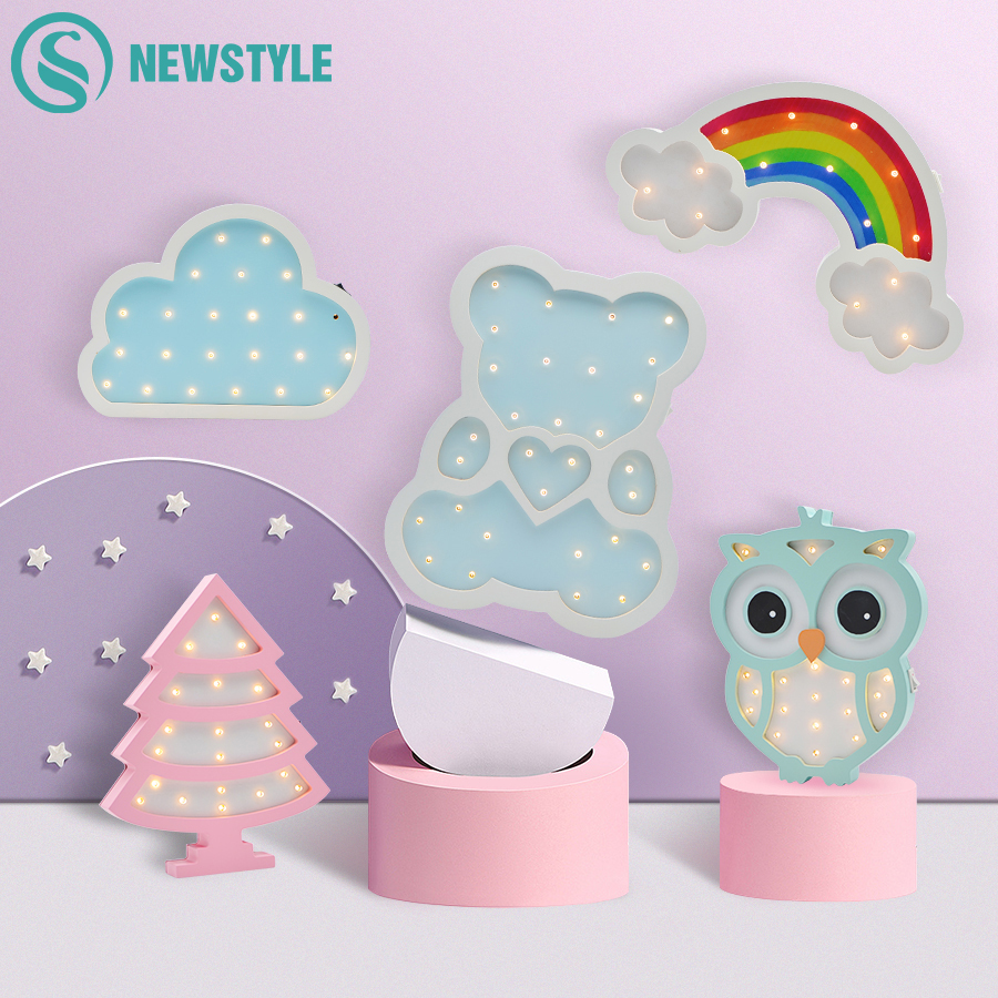 Cute Girl Style Owl Bear Unicorn Night Light Wooden Wall Bedside Table Lamp Children Baby Kids Bedroom Home Decoration Lighting