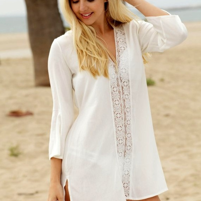 Bathrobe For The Beach Coverup Bath Exit Women Swimsuit Behind Lace Dress Skirt Upper Garment Female Solid Acetate FMZXG