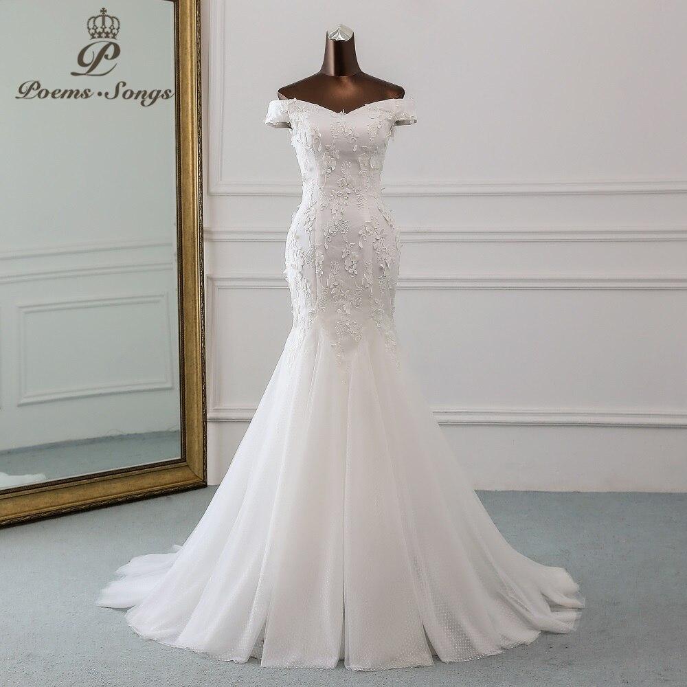 PoemsSongs New Style Beautiful Three-dimensional Flower Lace Wedding Dress 2020 Vestido De Noiva Mermaid Dress Robe De Mariee