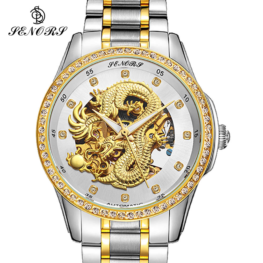 Skeleton Luxury Automatic Mechanical Wristwatches Dragon  Stainless Steel Band Men's Watch Waterproof relogio masculino 2017 цена