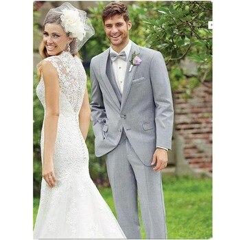 2017 Charming Business Men Light Grey Suits Vintage Bridegroom Tuxedos Best Men Wedding /Prom Suits (Jacket+Pants+Vest+Tie)
