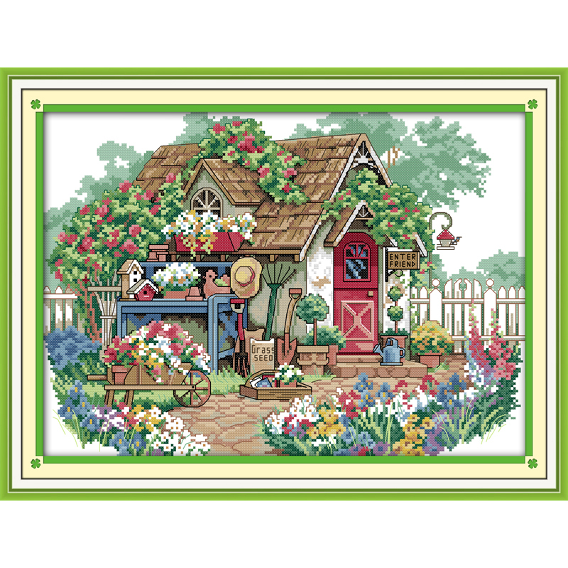Everlasting love Flower cabin (2) Chinese cross stitch kits Ecological cotton stamped 11 14CT  DIY new year decorations for home