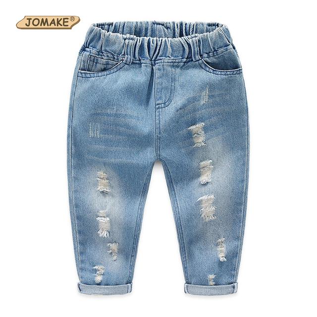 Novas Calças Do Bebê Denim Algodão Rasgado Buraco Jeans Meninos Outono 2-10 Y Crianças Roupas das Meninas Casuais calças de Brim Crianças Calças moda