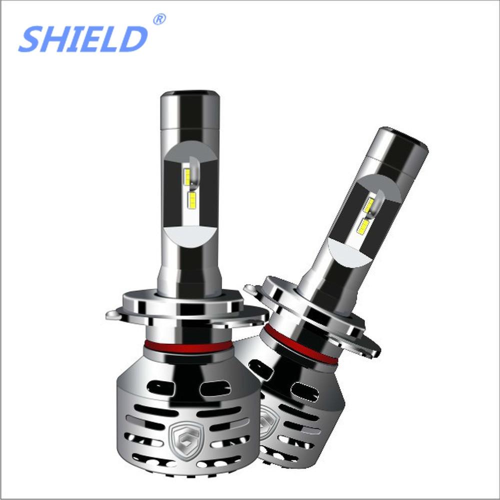 SHIELD 2PCS Car Headlights Aluminum LED H7 H1 H3 H11 9005 9006 H4 12V 6000K 12000LM Auto Lamp Bulbs High power IP68