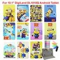 """Crianças Dos Desenhos Animados Amarelo Minions Olá Kitty Super Heros Spiderman Caso Capa de Couro Para 10.1 """"DigiLand DL1010Q Tablet Android"""