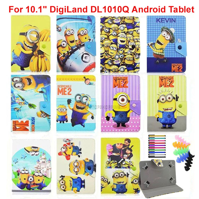 Kids Cartoon Yellow Minions Hello Kitty Super Heros Spiderman Leather Case Cover For 10.1 DigiLand DL1010Q Android Tablet large format printer spareparts compatible ink supply system ink cartridge with chip for mutoh 4x8