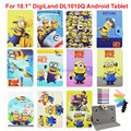 "Kids Cartoon Yellow Minions Hello Kitty Super Heros Spiderman Leather Case Cover For 10.1"" DigiLand DL1010Q Android Tablet"