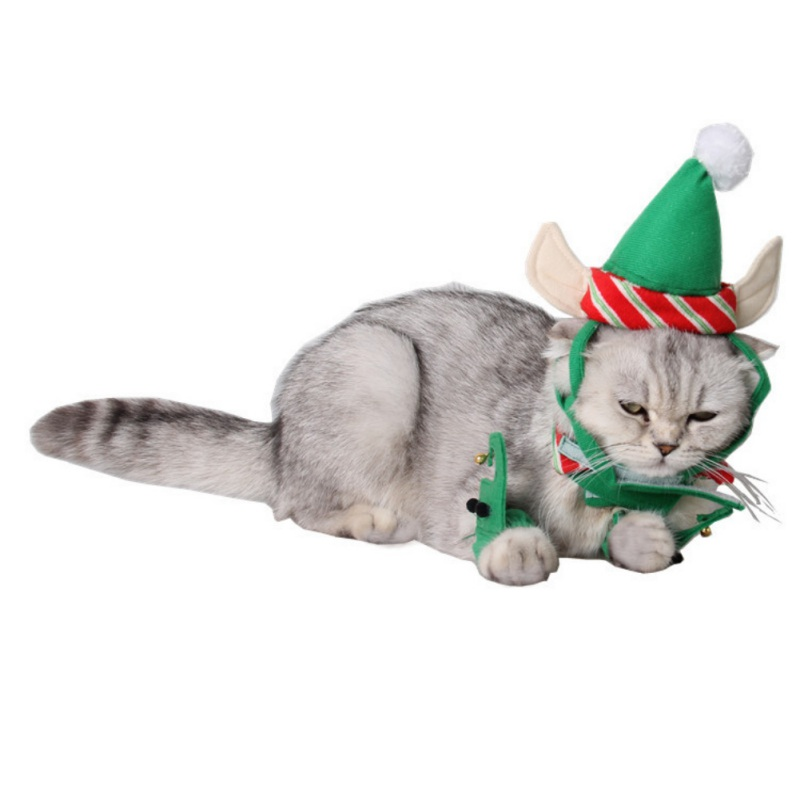 4pcs/ Pet Cat Hat Ear Hole Dog Hats Products Cute Cats Costumes Suits Home Party Festivals Green Clamp