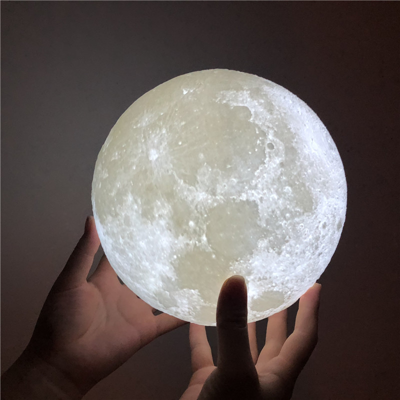 Free Shipping 3D Print Moon Lamp USB Rechargeable 2 Color Touch Control Bedroom Adjustable Night Light Decor Gift Luminaria Blub