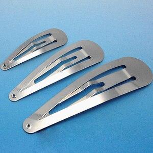 50pcs/lot Silver Tone Snap Hair Clips 5/6/7/8cm Craft Bow Handmade DIY Hair Accessories for Women Girls Hairgrip Hair Clip(China)