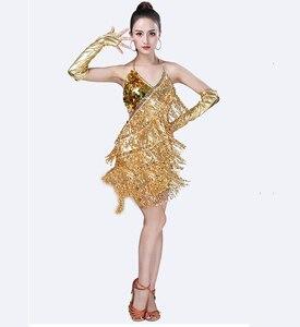 Image 4 - Traje de baile latino con lentejuelas para mujer, brillantes vestidos para fiesta, baile latino con flecos, Samba, Rumba, Tango
