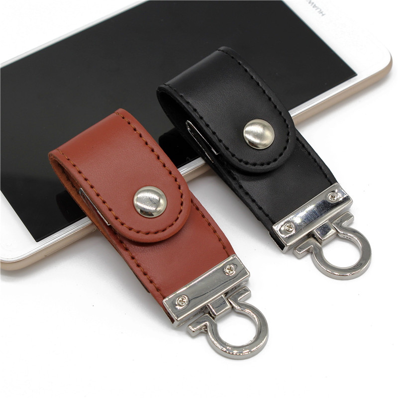 USB Flash Drive Leather Metal Keyring Pendrive Creativo USB 2.0 32gb 16gb 8gb 4gb