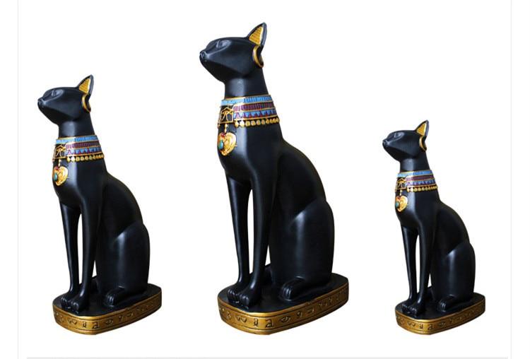 Egypt Moon Goddess Bastet Incarnation Cat God Figurine 1PC Resin Black Decor Collectible Creative Gift Home Accessories Crafts