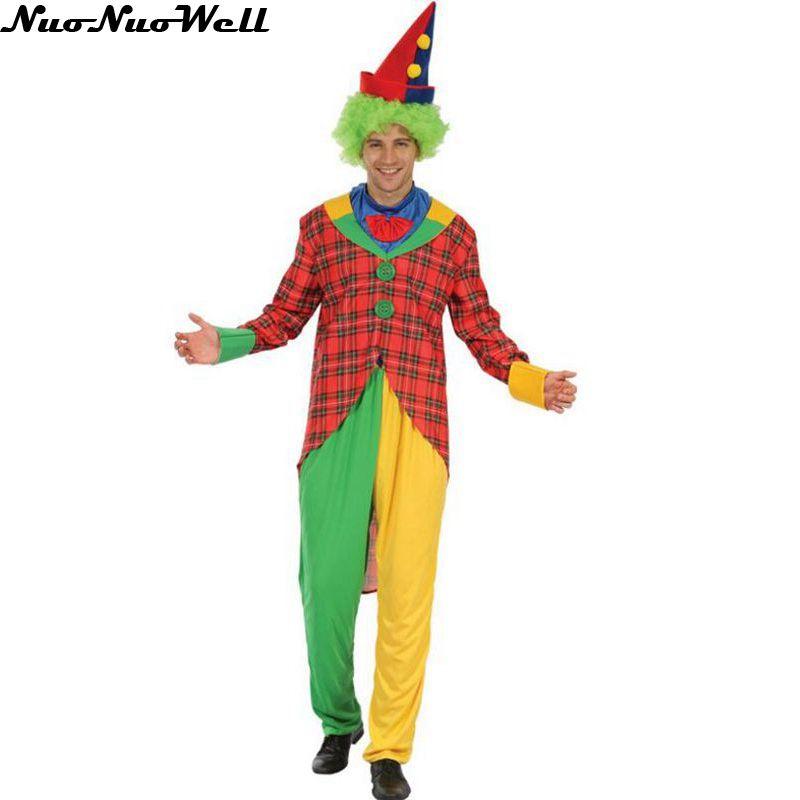 Adult Male Clown Holiday Variety Funny Clown Costumes Christmas Adult Woman Man font b Joker b