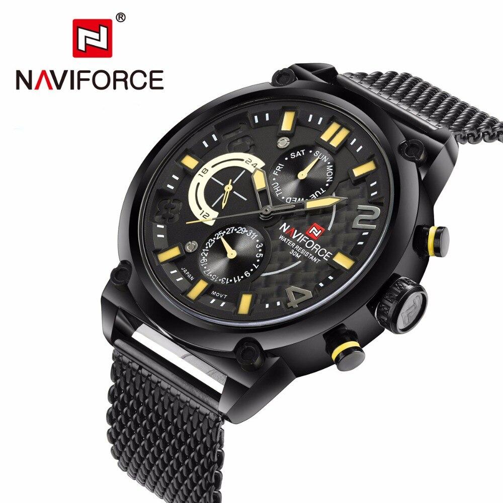 NAVIFORCE, Топ бренд, роскошные часы для мужчин, полностью из нержавеющей стали, кварцевые часы, водонепроницаемые, армейские, военные, спортивны... - 4
