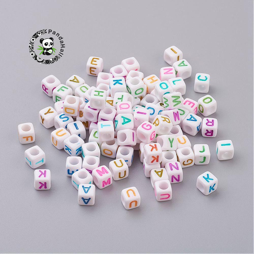 Colorful Alphabet Acrylic Beads Mixed Letters Cube Beads for jewelry DIY making about 6mm in diameter