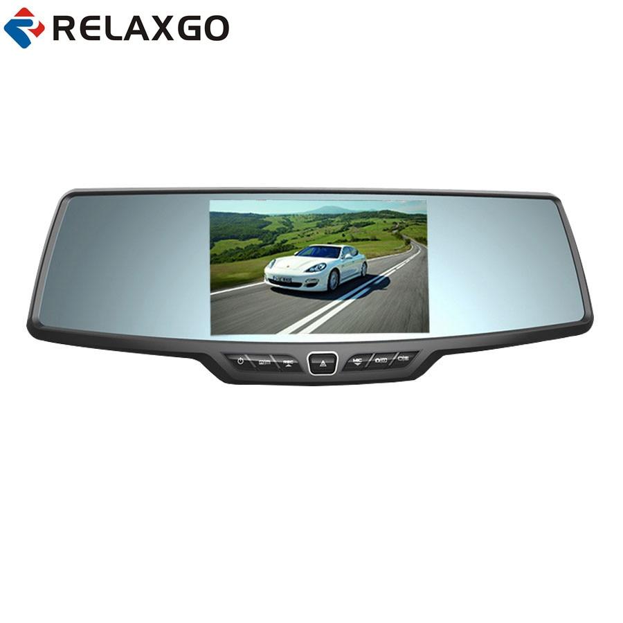 Relaxgo 4.3 voiture DVR Rétroviseur Enregistreur Vidéo Full HD 1080 P Voiture Caméra Dashcam Nuit Vision Auto Registrators Noir Boîte