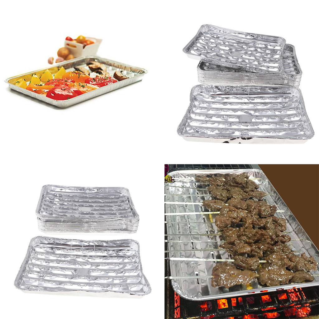 40pcs/set Disposable Aluminum Foil Barbecue Grilling Trays Outdoor BBQ Spare