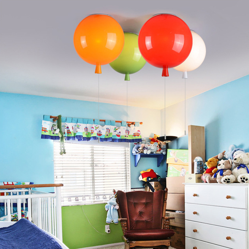 Novelty Colorful Balloon Ceiling Lights Modern Round Acrylic Led Ceiling Lamp Light for Kids Children Bedroom Dining Room 220V top wooden airplane led ceiling light kids usb speakers led e14 bulb 110v 220v audio amplifier lamp led children ceiling lights