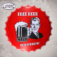 35cm Free Beer Tomorrow Metal Round Tin signs Beer Bottle Cap Wall Painting Home Party Plaque Home Bar Pub Wall Decor