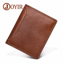 JOYIR Wallets Men Vintage Genuine Leather Wallets Short Coin Purse Wallet Brand Gift For Men Card Holder RFID Male Purse 2023 comics marvel super hero wallets leather card holder bags purse anime cartoon deadpool captain america gift kids short wallet