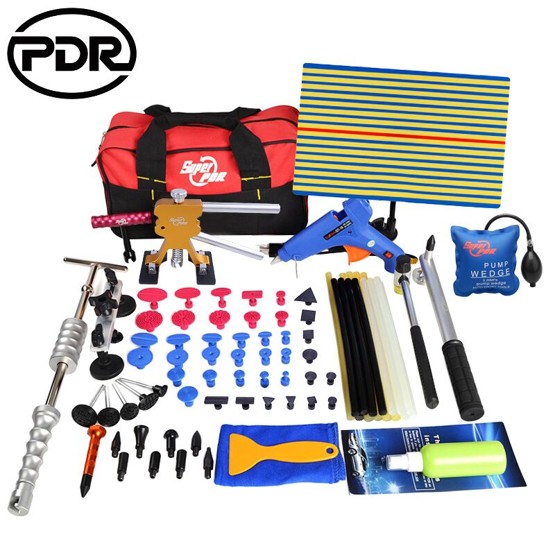 PDR Tools Kit Car Repair Kit Paintless Dent Removal Kit Auto Dent Repair Tool To Remove Dents Puller Glue Tabs Tool Bag 5 second fix liquid plastic welding kit uv light repair tool glue kit