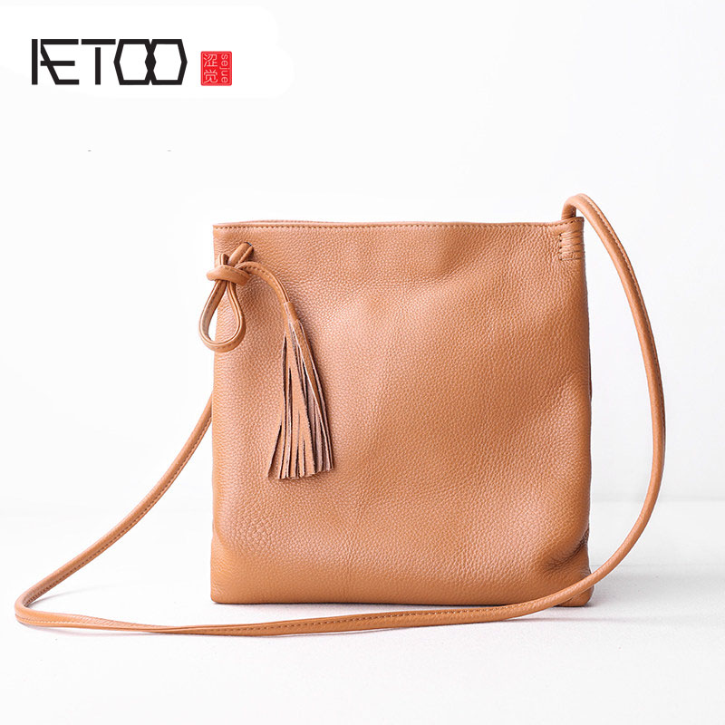 AETOO Bag 2017 new Messenger bag leather handbags Korean fashion simple wild wild first layer of leather bag leather korean women s bag 2018 new wave korean version of the wild side small bag retro simple messenger messenger bag