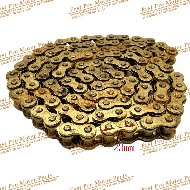 Gold 420 Chain 104 Links For Chinese <font><b>110cc</b></font> 125cc Engine Pit Dirt <font><b>Motor</b></font> Trail Bike <font><b>ATV</b></font> Quad 4 Wheeler Motorcycle image