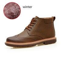 WEST SCARP Fashion Men Boots Winter Shoes Men Warm Plush Ankle Boots Hombre 100 Genuine Leather