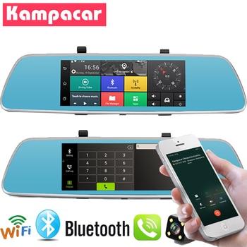 "Kampacar 3G Car Recorder With GPS Mirror With Rear View Camera Bluetooth Wifi Mirror Car Dvr And Navigator 7"" Dash Cam Dual Lens"