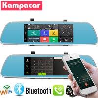 Kampacar 3G Car Recorder With GPS Mirror With Rear View Camera Bluetooth Wifi Mirror Car Dvr And Navigator 7 Dash Cam Dual Lens