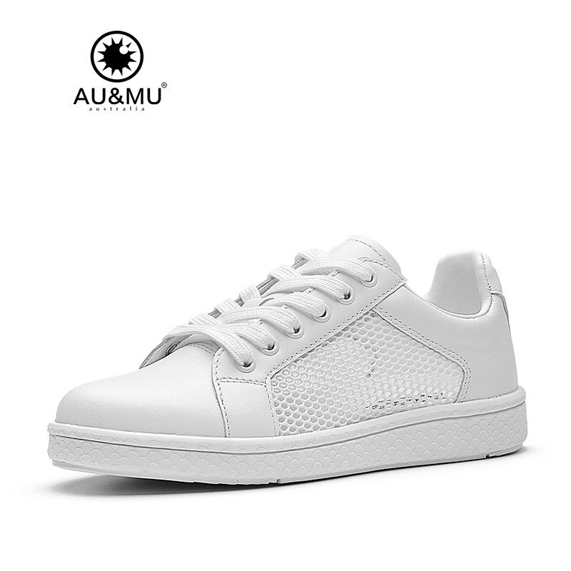 2018 AUMU Australia Brand New Mesh Seam Gridding All-White Casual Shoes G711 2018 aumu australia rhinestone shiny